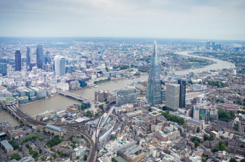 An aerial view over the London Bridge area.