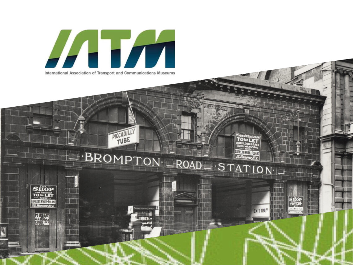 IATM logo in top left with a central black and white photo depicting the frontage of Brompton Road Underground Station